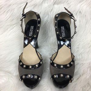 Michael Kors Patent Leather Grey Suede Heels 9M